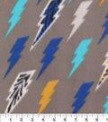 Blizzard Fleece Fabric 59\u0022-Multi Colored Lightening Bolts