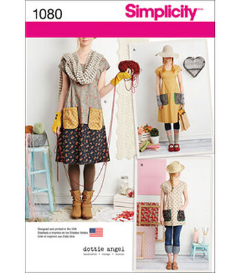 Simplicity Pattern 1080 XS-S-M-L-XL-Dottie Angel For Simplicity Dress or Tunic