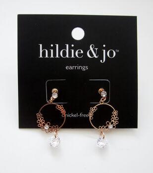 hildie & jo Gold Dangle Post Earrings-Flower Accents