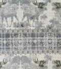 Anti-Pill Plush Fleece Fabric-Lodge Moose Medallion Stripe