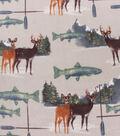Anti-Pill Plush Fleece Fabric-Deer Fish Oars