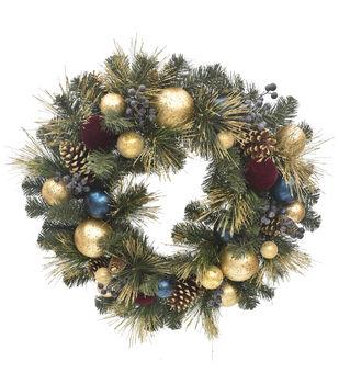 Handmade Holiday Christmas Pine, Pinecone & Ornament Wreath-Gold & Blue