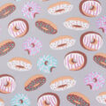 Blizzard Fleece Fabric-Donuts on Gray