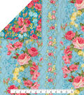 Double Faced Pre-Quilted Cotton Fabric 42\u0022-Blue Floral Stripe