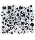 Peel & Stick Wiggle Eyes Assorted 7mm to 15mm 100/Pkg-Black