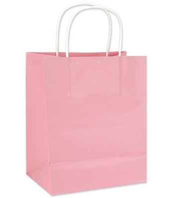 Clay Coated Gift Bag W/White Handle Medium-12PK MANY COLORS