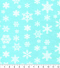 Luxe Flannel Fabric -Snowflakes On Aqua