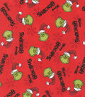 The Grinch Cotton Fabric-Merry Grinchmas Red