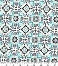 Quilter\u0027s Showcase Cotton Fabric -Gray & Teal Medallion