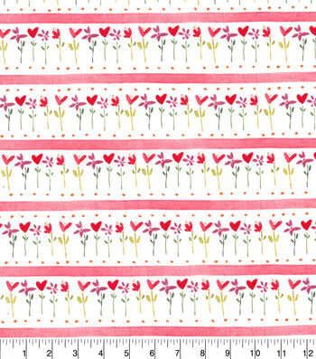 Valentine's Day Cotton Fabric-Heart Flower Stripe
