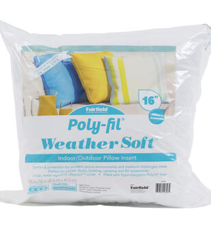 """Poly-Fil Weather Soft Indoor / Outdoor Pillow Insert 16x16"""""""