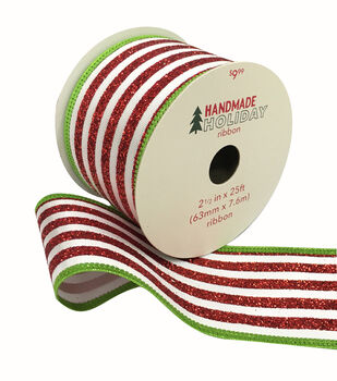 Handmade Holiday Ribbon 2.5''x25'-Red & White Stripes with Green Edge
