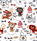 Snuggle Flannel Fabric -Playful Pups Sketch