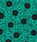 Quilter\u0027s Showcase Fabric 44\u0027\u0027-Pool Green & Black Floral