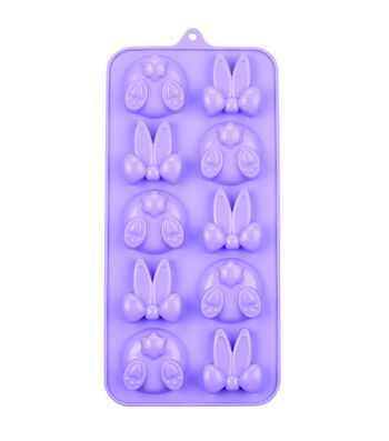 Easter 8.25''x4'' 12-cavity Silicone Candy Mold-Hidden Bunny
