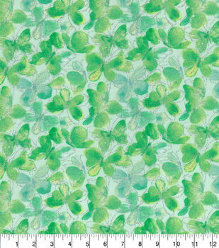 Keepsake Calico Cotton Fabric-Butterflies Glitter Green