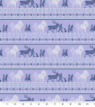 Disney Frozen 2 Flannel Fabric-Frozen Friends Stripe