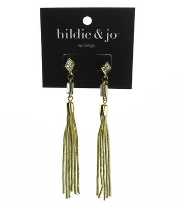 hildie & jo Gold Chain Dangle Earrings-Crystals