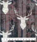 Anti-Pill Plush Fleece Fabric-Everest Stag Heads on Wood