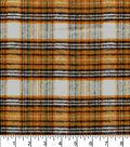 Plaid Brush Cotton Fabric -Black, Orange & Gold