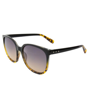 Two-toned Sunglasses with Square Frame-Black & Tortoise Print