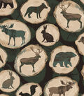 Snuggle Flannel Fabric -Animals on Wooden Logs