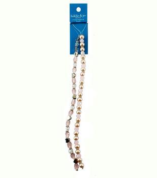 hildie & jo 7'' Heart Metal & Round Glass Strung Beads-Pink