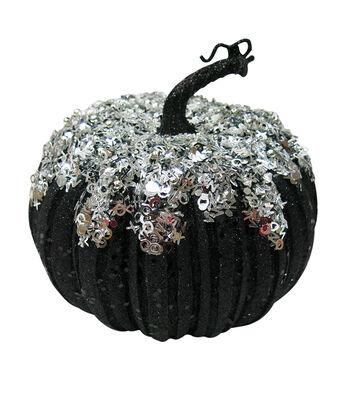 Maker's Halloween Medium Black Silver Pumpkin
