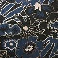 Scuba Knit Fabric-Blue & Foiled Mod Floral on Black