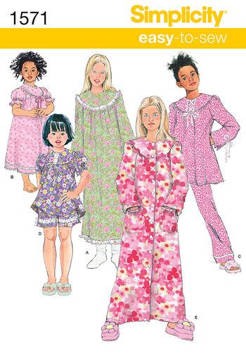 Simplicity Pattern 1571K5 7-8-10-12--Child Girl Sleepwear
