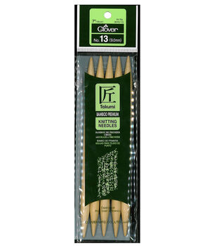 "Takumi Bamboo Double Point Knitting Needles 7"" 5/Pkg-Size 13/9mm"