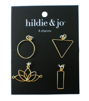 hildie & jo 4 pk Iron Charms-Gold