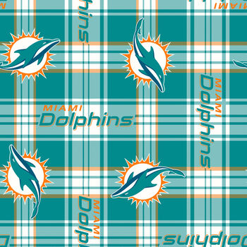Miami Dolphins Fleece Fabric -Plaids