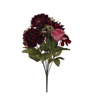 Blooming Autumn Frosted Peony, Rose & Hydrangea Bush-Burgundy