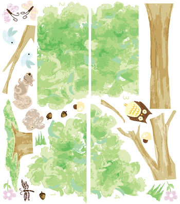 Wall Pops Treehouse Wall Art Decal Kit, 26 Piece Set