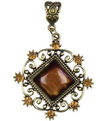 Jewelry Basics Metal Pendant 1/Pk-Antique Gold Diamond With/Cabochon
