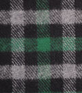 Plaiditudes Brushed Cotton Fabric-Green, Grey & Black Checked
