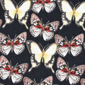 Silky Print Textured Fabric-Black Butterfly