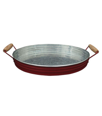 Americana Patriotic Galvanized Tray with Wood Handle-Red
