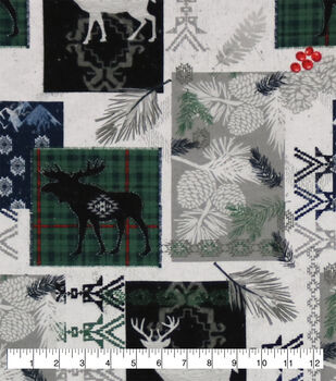 Super Snuggle Flannel Fabric-Blackwatch Dear Moose