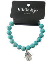 hildie & jo Beads Stretch Bracelet-Turquoise with Silver Hamsa, , hi-res