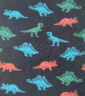 Anti-Pill Plush Fleece Fabric-Dino On Black