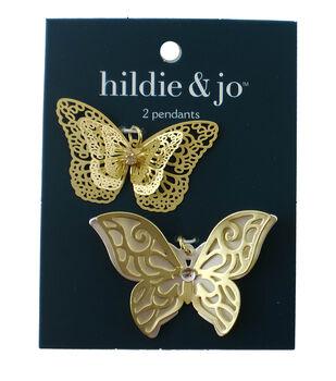 hildie & jo 2 pk Butterfly Pendants-Gold