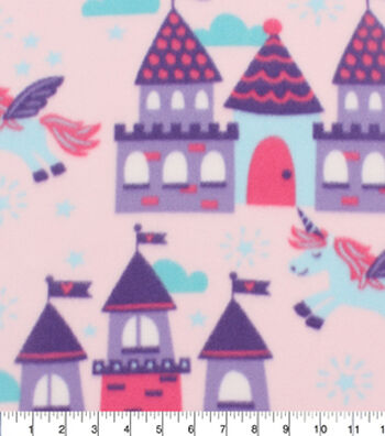 "Blizzard Fleece Fabric 59""-Unicorns And Castles"
