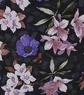 Silky Print Rayon Fabric 53\u0027\u0027-Purple Flowers on Black