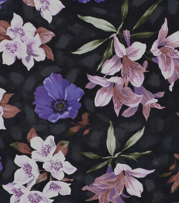 Silky Print Rayon Fabric 53''-Purple Flowers on Black