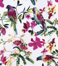 Silky Print Rayon Fabric 53\u0027\u0027-Floral & Tropical Birds on White