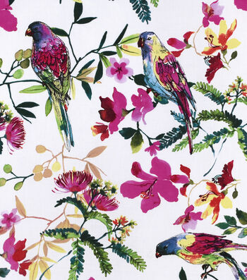 Silky Print Rayon Fabric 53''-Floral & Tropical Birds on White