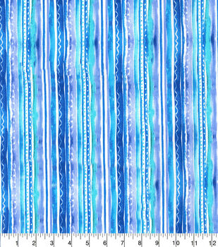 Keepsake Calico Cotton Fabric-Blue Watercolor Stripes