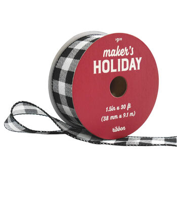 Maker's Holiday Christmas Ribbon 1.5''x30'-Black & White Buffalo Checks